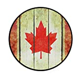 Round Area Rug Canada Flag Art Deco Non-Slip Backing Playing Floor Mat for Living Room Bedroom, 3 Feet Diameter