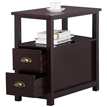 Go2buy Sofa Side Narrow End Table With 2 Drawer And Shelf Nightstand For  Small Spaces Living Part 32