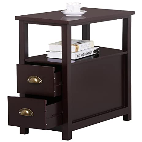 Amazon.com: go2buy Sofa Side Narrow End Table with 2 Drawer and ...