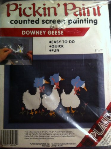 Counted Screen Painting Downey Geese 5