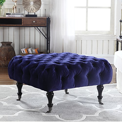 classic-tufted-velvet-footrest-footstool-ottoman-with-casters-royal-blue