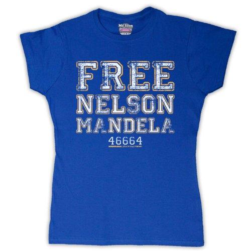 Nelson Mandela Free Nelson Mandela para mujer T-Shirt azul real