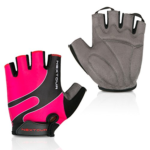 NEXTOUR Cycling Gloves Mountain Bike Gloves Half Finger 10 Choice Road Racing Riding Gloves with Light Silicone Anti-slip Shock-absorbing Gel Pad Biking Gloves for Men and Women (01-Hot pink, L)