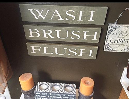 Wash Brush Flush Bathroom Signs