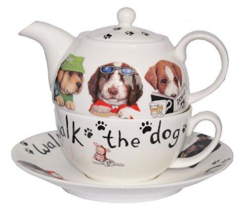 Roy Kirkham Animal Fashion Dog Tea for One Teapot, Cup & Saucer in Fine Bone China
