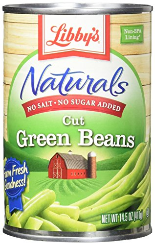 Libby's No Salt & No Sugar Naturals Cut Green Beans Cans, 14.5 Ounce (Pack of 12) by Libby's
