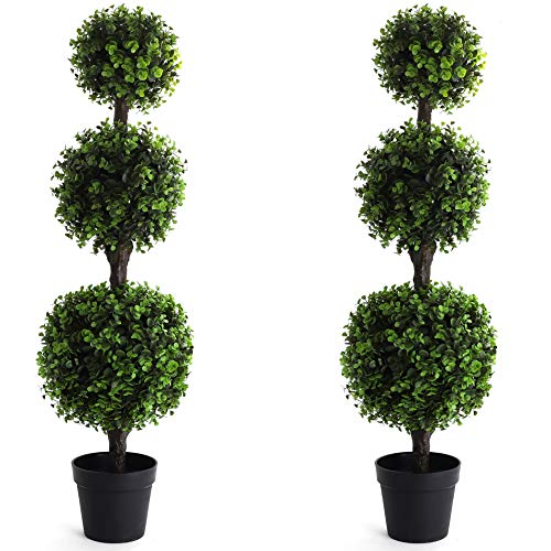 Bornbridge Artificial Boxwood Topiary Ball Tree – 4′ Boxwood Ball Tree – Indoor/Outdoor Topiary Trees – Boxwood…