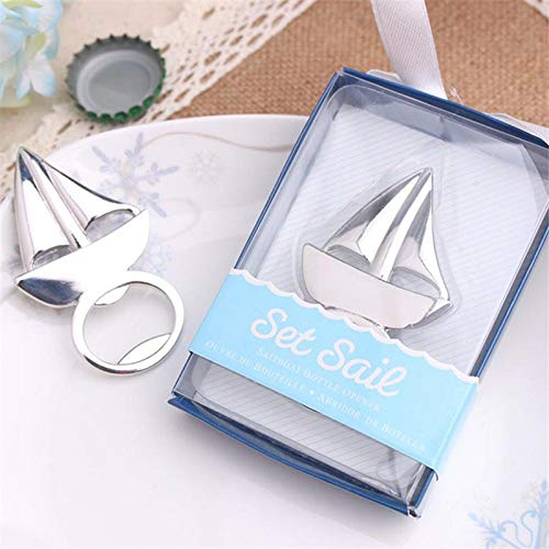 Wedding Favors - 100pcs Silver Sailing Boat Bottle Opener Beer Openers Bar Party Wedding Favors Home Cooking Wa1418 - You With Lotion Labels Grow Greenery Royal Syrup Guests Box (Beer Vegas Party Wedding)