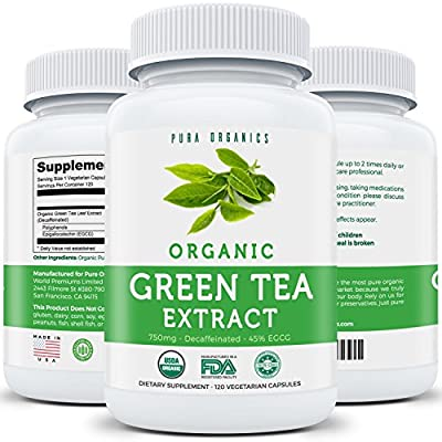 Organic Green Tea Extract | Decaffeinated | 120 Vegetarian Capsules | 750MG - 45% EGCG | Natural Fat Burner & Weight Loss Supplement | Decaf / Caffeine Free Diet Pills | Potent Antioxidant | ECGC