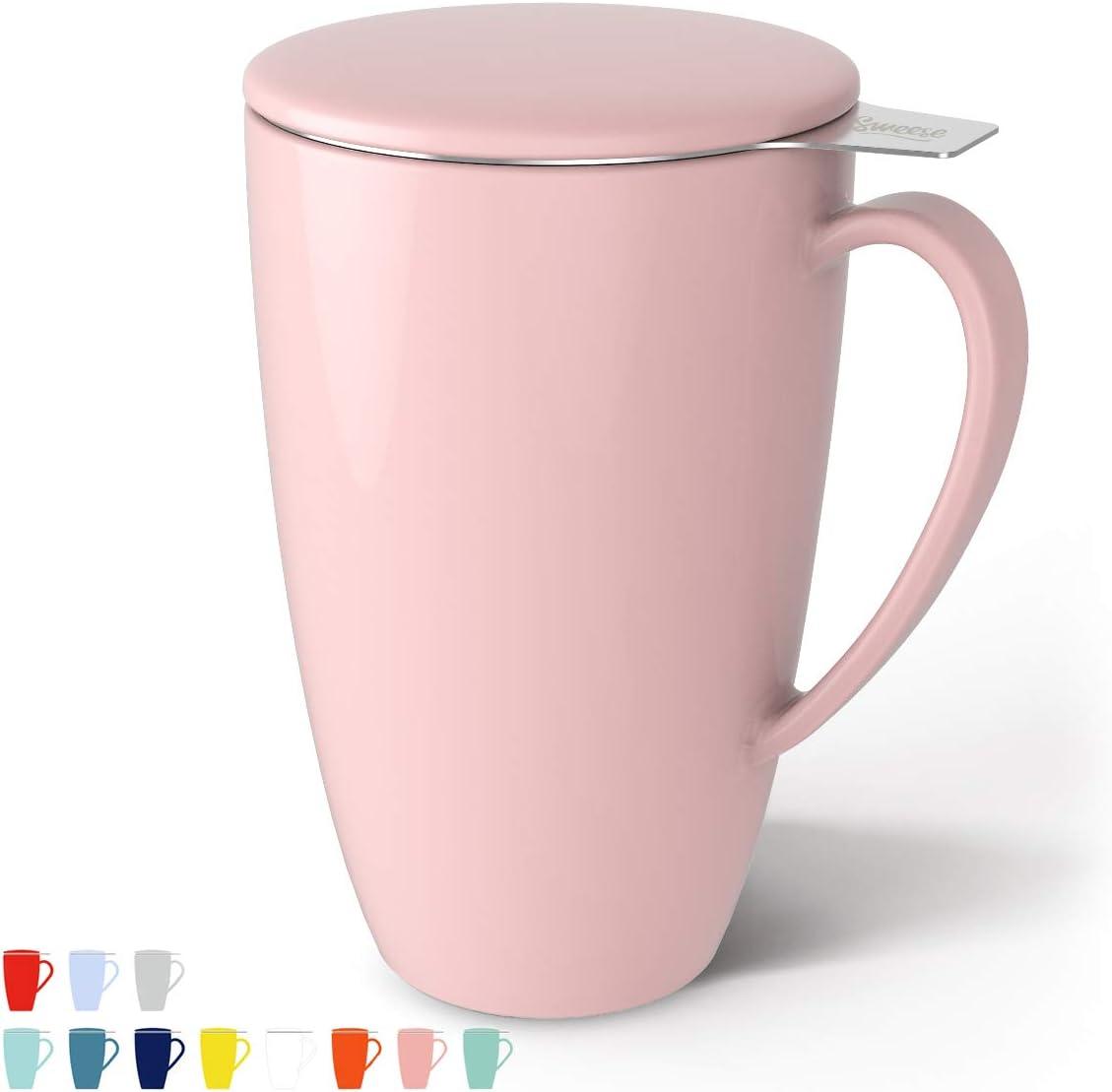 Porcelana Taza, colador de té vasos, tazas de té con filtro y tapa, 400 ml Rosa