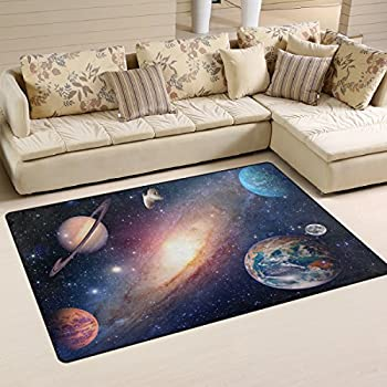 WOZO Universe Galaxy Outer Space Area Rug Rugs Non-Slip Floor Mat Doormats Living Room Bedroom 60 x 39 inches
