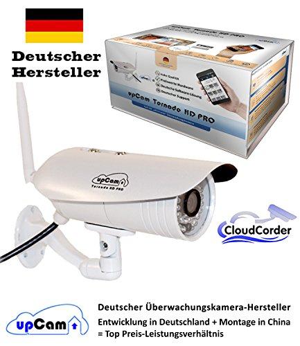 upCam Tornado HD PRO - IP Kamera mit Full HD 1080p SONY Sensor, Nachtsicht, Wetterfest (WLAN, App, SD Karte, Cloud Cam, Weitwinkel, Outdoor Überwachungskamera) - Deutscher Hersteller und Support