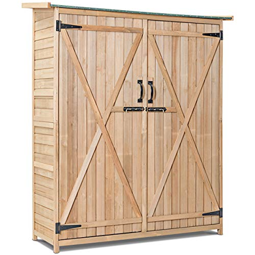 Goplus Outdoor Storage Shed, Fir Wood Cabinet for Garden Yard, Lockable Doors