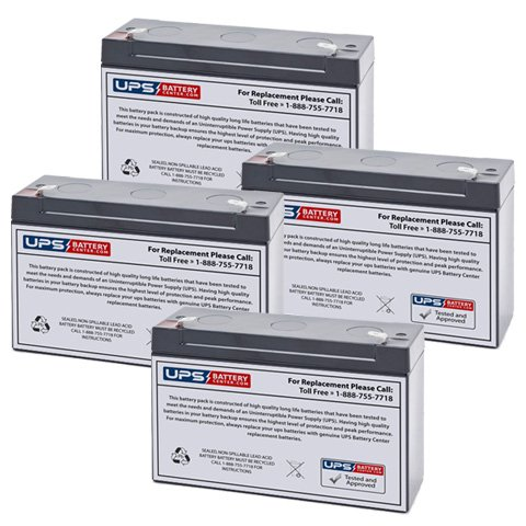 (4) 6V 12Ah F1 - Replacement battery set compatible with the Deltec PRC1000 by UPS Battery Center