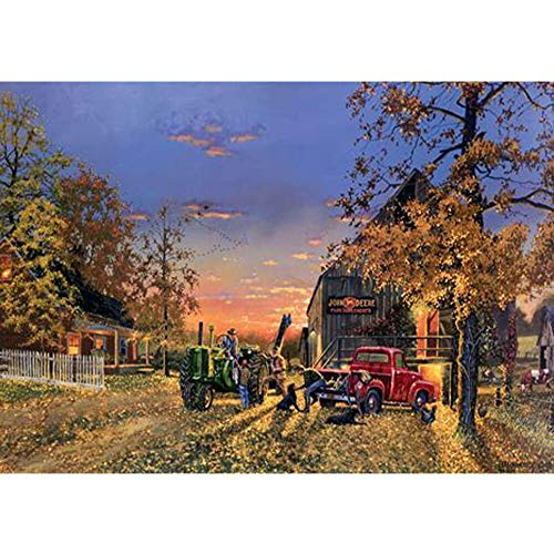 24x34cm Diamond Painting Full Square Machine Tractor Farm Harvest Daimond Painting Rhinestone Embroidery Crystal Mosaic Green Tractors Farm Landscape