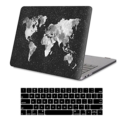MacBook New Pro 15 Inch Case with Touch Bar 2017&2016 Release Model A1707 Rubberized Hard Shell Case Cover+Keyboard Cover for MacBook Pro 15 with Touch Bar & Touch ID, Nebula Map
