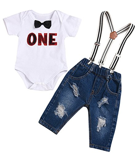UNIQUEONE Toddler Baby Boys Girls Gentleman Bowtie Short Sleeve Letters Print Romper+Suspenders Hole Jeans Sets Size 0-3Months/Tag70 (White)