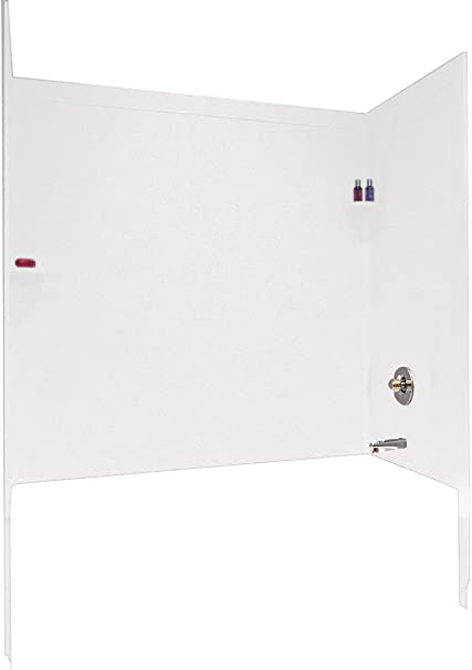 Swanstone SI00603.011 Solid Surface Glue-Up 3-Panel Bathtub Wall Kit 32-in L X 60-in H X 60-in H Tahiti White