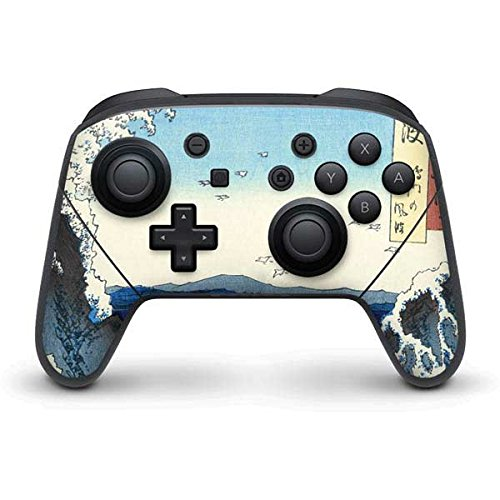 Hiroshige Nintendo Switch Pro Controller Skin - View of the Naruto whirlpools at Awa Vinyl Decal Skin For Your Switch Pro Controller