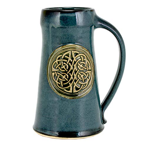 Pottery Mug Beer (32oz Tankard Beer Mug with the Celtic Knot emblem and Glaze (1, Night Sky Blue))