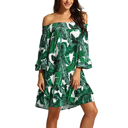 NINGSUN_Donna Estive Senza Spalline Chiffon Le foglie frutta Stampare Lunghezza del ginocchio Mini vestito Vestito da partito sciolto Mezza Manica Tops Eleganti Sexy Loose Abito Gonna Verde