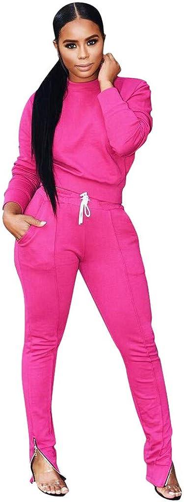 Womens Two Piece Sweatsuit Sets Solid Color Tracksuit Sets Winter Outfit Set High Neck T Shirt+Long Pants Jogging Sets