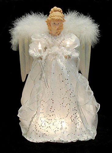 ighted White & Silver Angel Christmas Tree Topper - Clear Lights ()