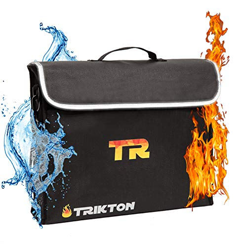 (Trikton Fireproof Document Bag, XL, Visible in The Dark, Stores Bulky Binders Without Fold Them, X-Large (15