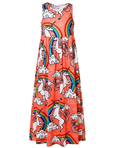 Price comparison product image Rainbow Unicorn Themed Party Maxi Dress for Girls 7-16