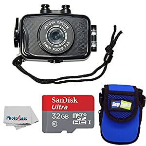 Intova Duo Waterproof HD POV Sports Video Action Camera With Compact Case + 32GB microSDHC UHS-I Card with Adapter + Clean Cloth from Intova