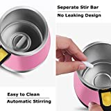 Upintek Self Stirring Coffee Mug Travel Coffee Mug Electric Stir Stainless Steel Automatic Self Mixing Cup for Tea Milk Vortex Mixer Blender Mug 450ml/15.2oz Pink