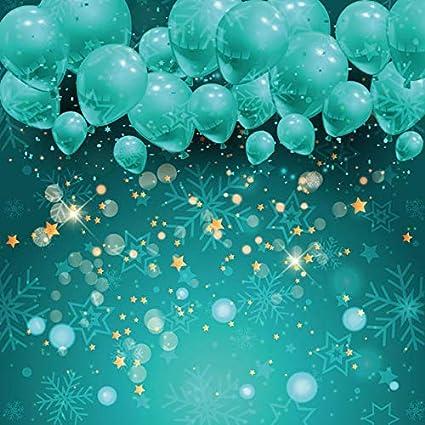 Leowefowa Vinyl 6x6ft Green Balloon Backdrop Photography Background Shiny Halos Snowflake Pattern Merry Christmas Festival Party