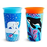 Munchkin Miracle 360 WildLove Toddler Sippy Cup, Polar Bear/Orca, 9 oz/266 ml, 2 Pack