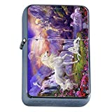 Unicorns Mythical Creature Flip Top Oil Lighter S6 Smoking Cigarette Smoker Includes Silver Case