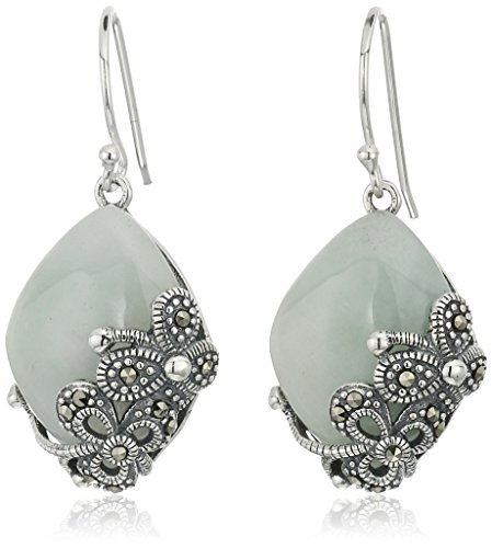 Sterling Silver Marcasite and Marquise Shape Jade Drop Earrings