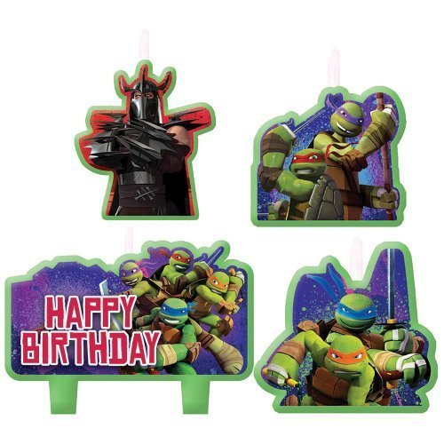 Teenage Mutant Ninja Turtles Birthday Candles - Birthday and Theme Party Supplies - 4 Per -