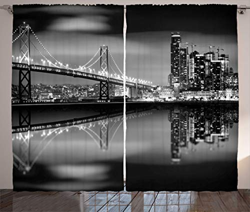 """Ambesonne Black and White Curtains, San Francisco Bay Bridge Metropolis Panorama View with Skyscrapers Print, Living Room Bedroom Window Drapes 2 Panel Set, 108"""" X 90"""", Monochrome"""