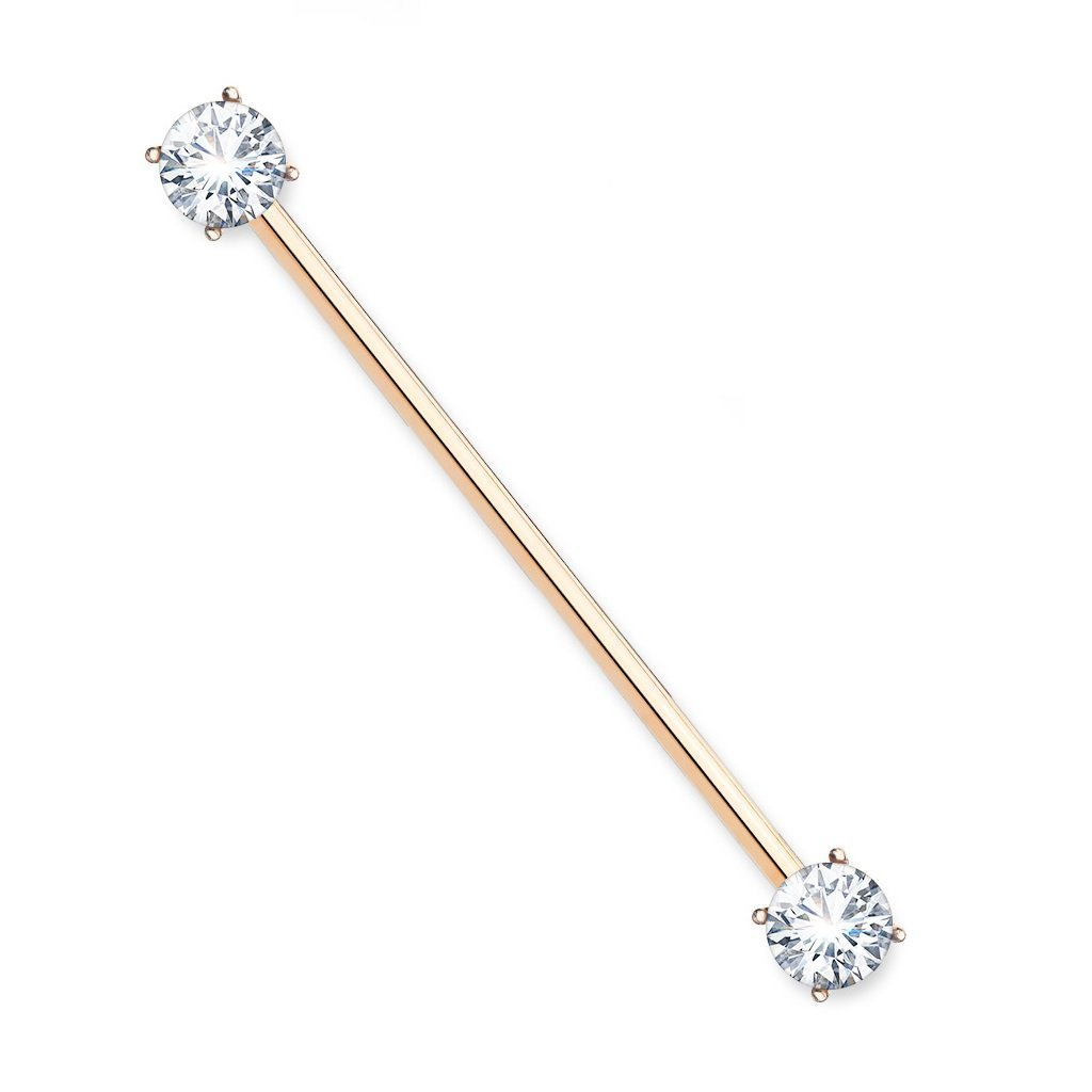 Covet Jewelry Round CZ Prong Set Ends 316L Surgical Steel Industrial Barbells Rose Gold//Clear