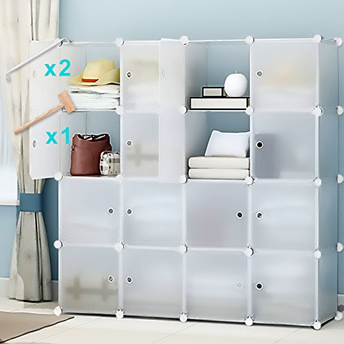 Home Storage Organizers (Honey Home Cube Storage Organizer, Portable Cube Closet for Bedroom, DIY Modular Cabinet Shelving Storage Organizer Plastic Closet with Easy closed Doors- 16 Cubes)