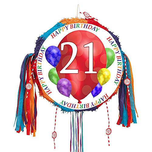 (21ST BIRTHDAY BALLOON BLAST PULL PINATA (EACH) by)