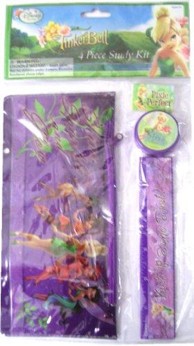Tinker Bell Fairies 4 Piece Study Kit - Ruler, Pencil Pouch, Pencil Sharpener & Eraser