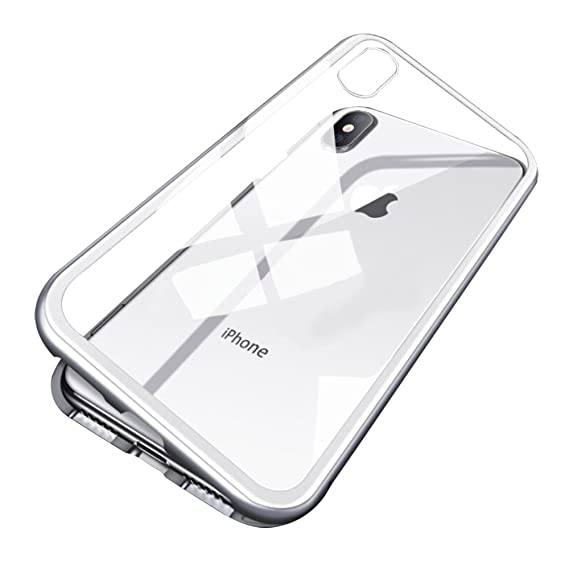 f0cde92da47 iPhone X Case, Diaxbest Ultra Slim Magnetic Adsorption Metal Case, Hard Clear  Tempered Glass