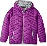Under Armour Girls' ColdGear Reactor Hooded Jacket, Purple Rave/Overcast Gray, Youth Small
