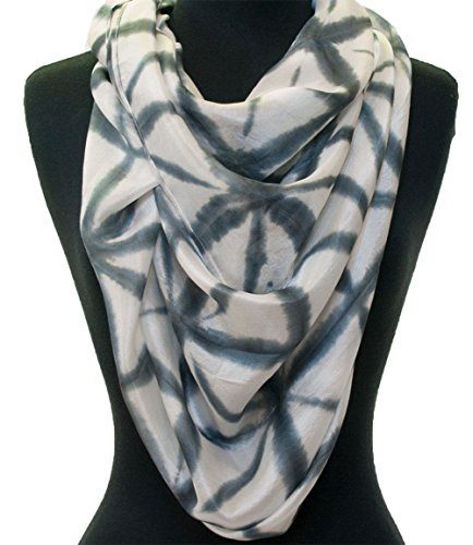 Grey & White Hand-Dyed Japanese Style Shibori Silk Scarf 72