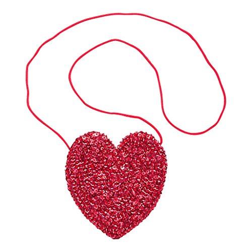 (Shu-Shi Girls Purse Sequin Heart Shaped Small Bag Crossbody with Long Strap)