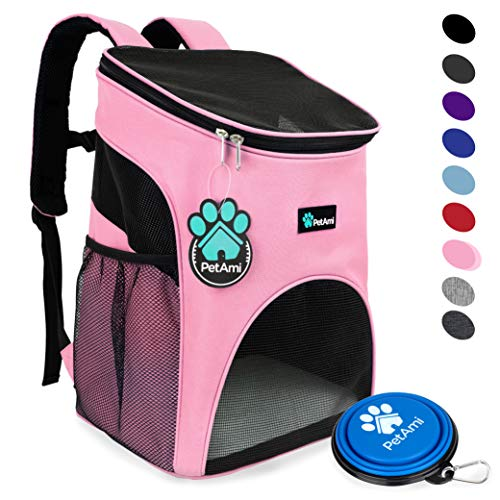 PetAmi Premium Pet Carrier Backpack for Small Cats and Dogs | Ventilated Design, Safety Strap, Buckle Support | Designed for Travel, Hiking & Outdoor Use -