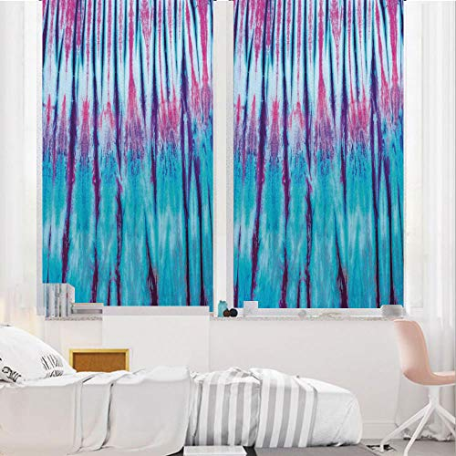 Tie Dye Decor 3D No Glue Static Decorative Privacy Window Films, Close Up Vertical Gradient Tie Dye Figures Hippie Alter Life Retro Artwork,17.7