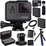 GoPro HERO5 Black CHDHX-501 + Replacement Lithium Ion Battery For GoPro Hero5 + 64GB microSDXC Card + Micro HDMI Cable + Case for GoPro HERO4 and GoPro Accessories + Tripod Adapter For GoPro Bundle