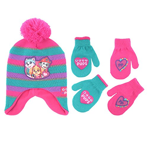 Nickelodeon Little Girls Paw Patrol Character Hat and 2 Pair Mittens or Gloves Cold Weather Set, Age 2-7 (Toddler Girls Age 2-4 Hat & 2 Pair Mittens Set, Pink/Green)