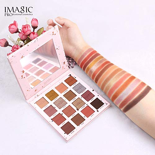 New PINK POP 16 Colors Eyeshadow Matte Shimmer Glitter Easy To Wear Eye Shadow Palette Profissional Long-lasting Eye Shadow Highly Pigmented Makeup Palette with Makeup Mirror